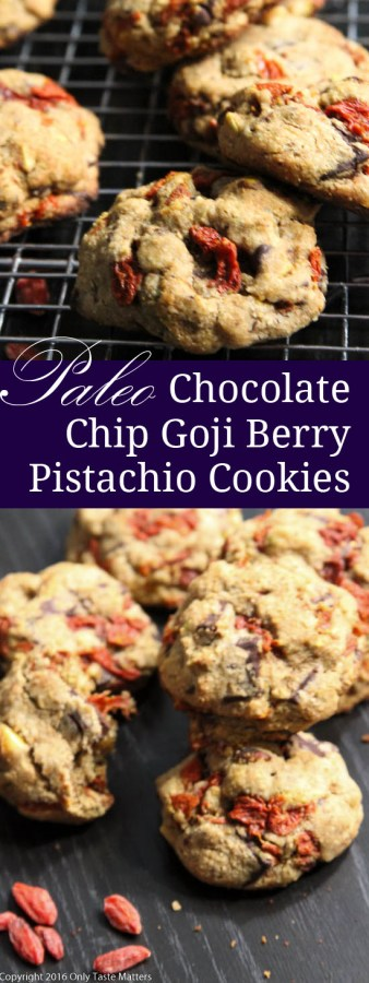 Looking for the perfect Paleo Christmas cookie? Try Chocolate Chip, Goji Berry and Pistachio Cookies. | Only Taste Matters