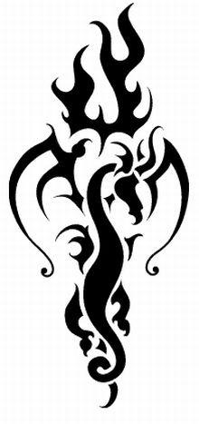 Tribal Fire Dragon Tattoos Designs
