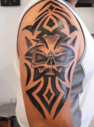 tribal tattoo arm tattoos skull designs awesome dragon meanings