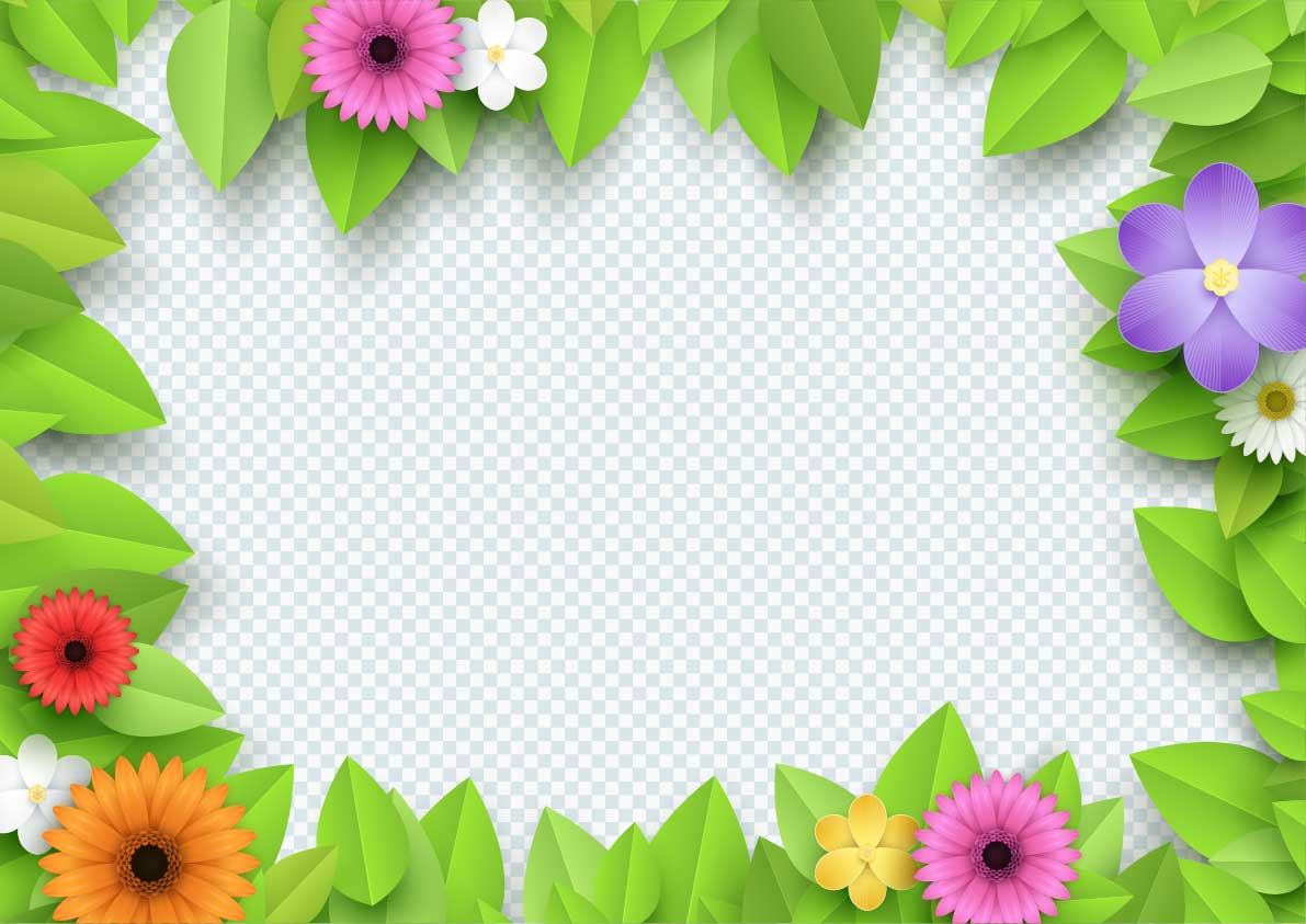 3d Flowers Border Transparent