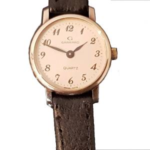 Garrard 9ct Gold Ladies Watch on Leather Watch Strap
