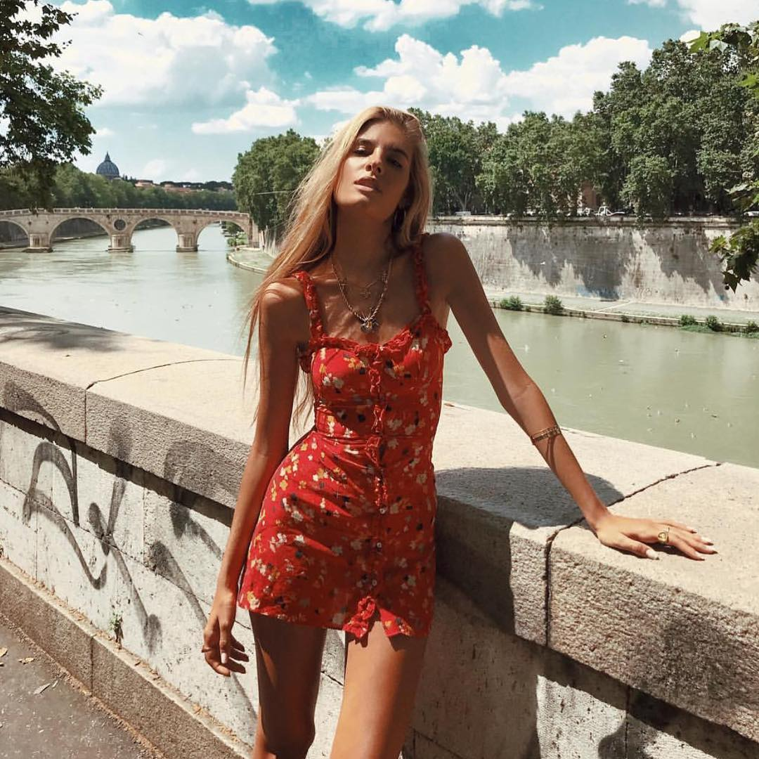 red sundress in floral