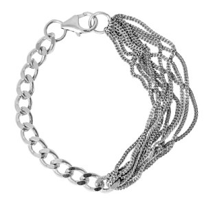 sterling silver multi chained combined bracelet