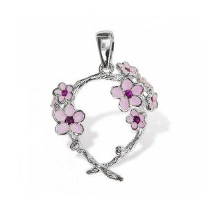 cherry blossom pendant sterling silver onlyway jewelry