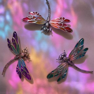 Beautiful Dragonfly Brooch in Sterling Silver 925