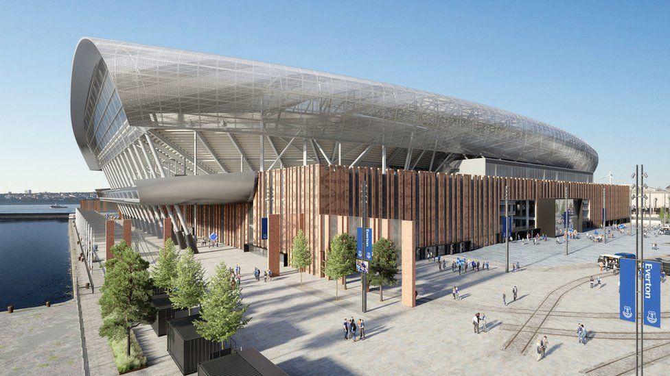 ЮНЕСКО исключил Ливерпуль из списка объектов всемирного наследия An artists impression of Evertons new stadium which is being built at Bramley Moore Dock