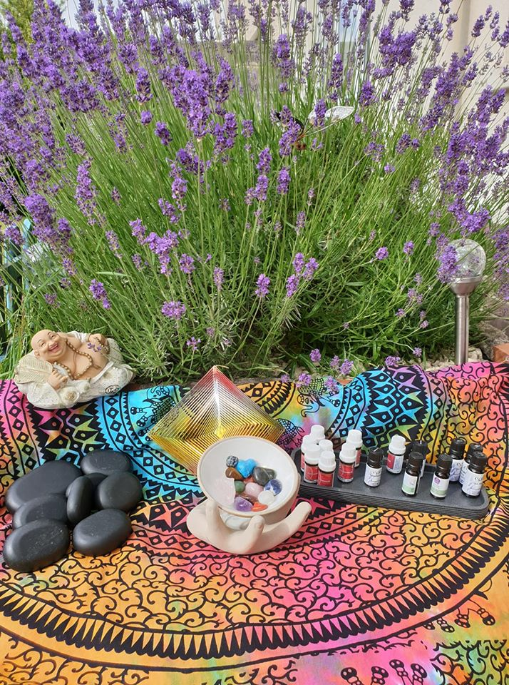 lavender with holistic items laid out in front