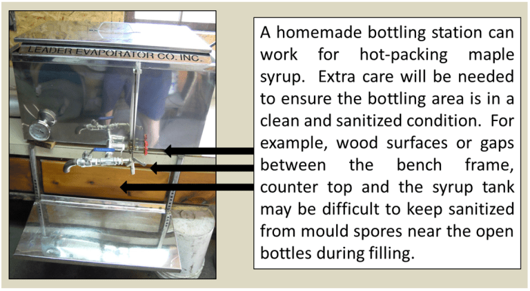 """A photo of a rectangular metal container with spouts and valves protruding from it, used to bottle maple syrup. The caption says: """"a homemade bottling station can work for hot-packing maple syrup. Extra care will be needed to ensure the bottling area is in a clean and sanitized condition. For example, wood surfaces or gaps between teh bench frame, countertop adn the syrup tank may be difficult to keep sanitized from mould spores near the open bottles during filling."""