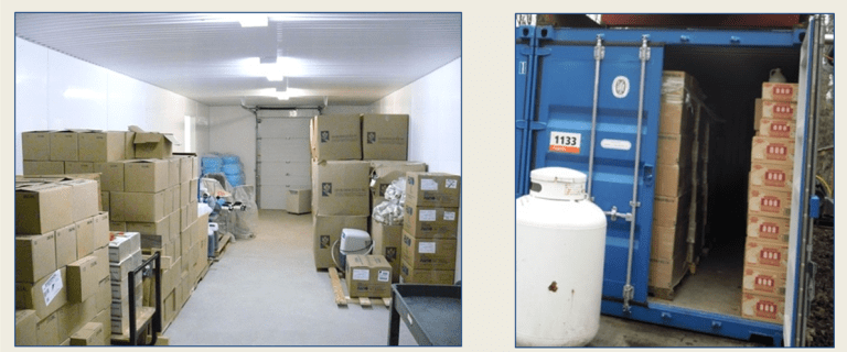 One photo of a storage room with boxes piled along the sides, another of a portable blue storage container with boxes inside.