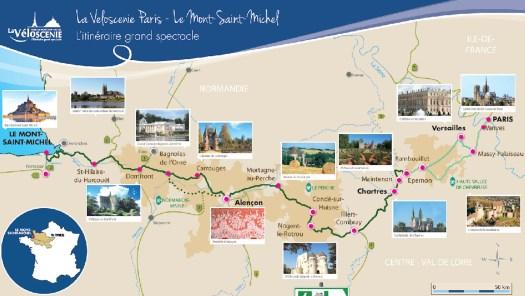 Carte de l'itinéraire de la véloscénie de Paris au Mont-Saint-Michel