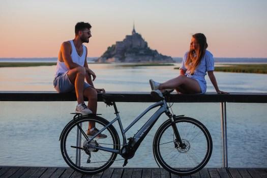 arrivée au Mont Saint Michel, dernière étape de la véloscénie