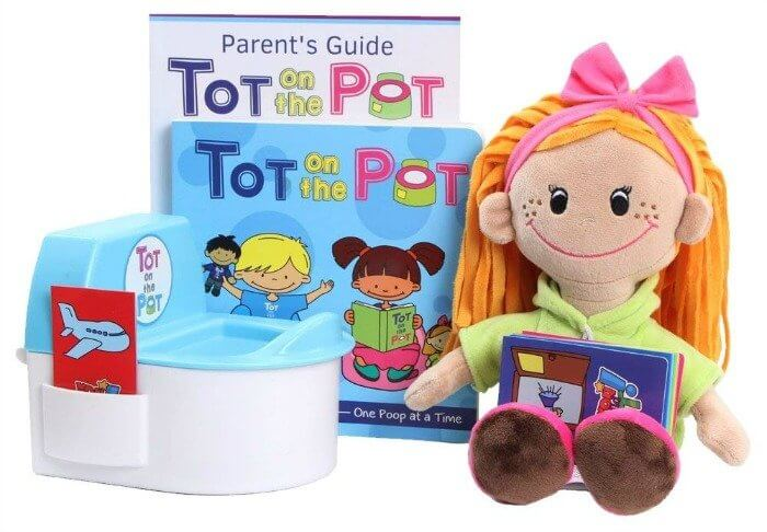 A doll, doll\'s potty and Tot on The Pot books