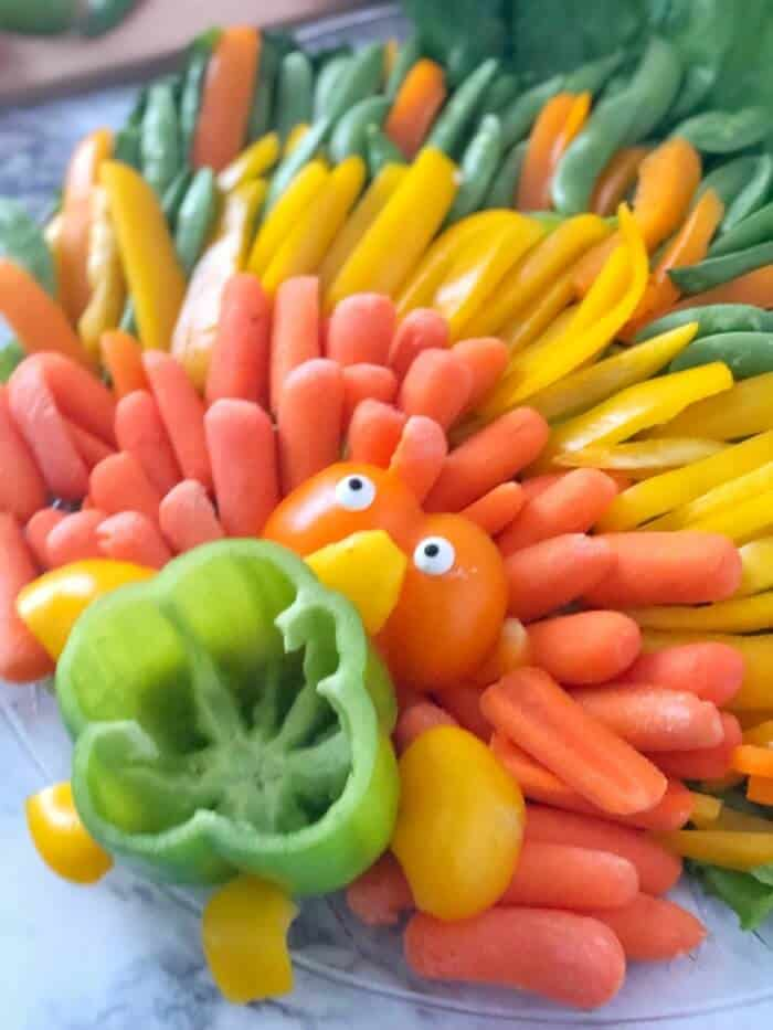 A side view of a Thanksgiving turkey platter of vegetables.