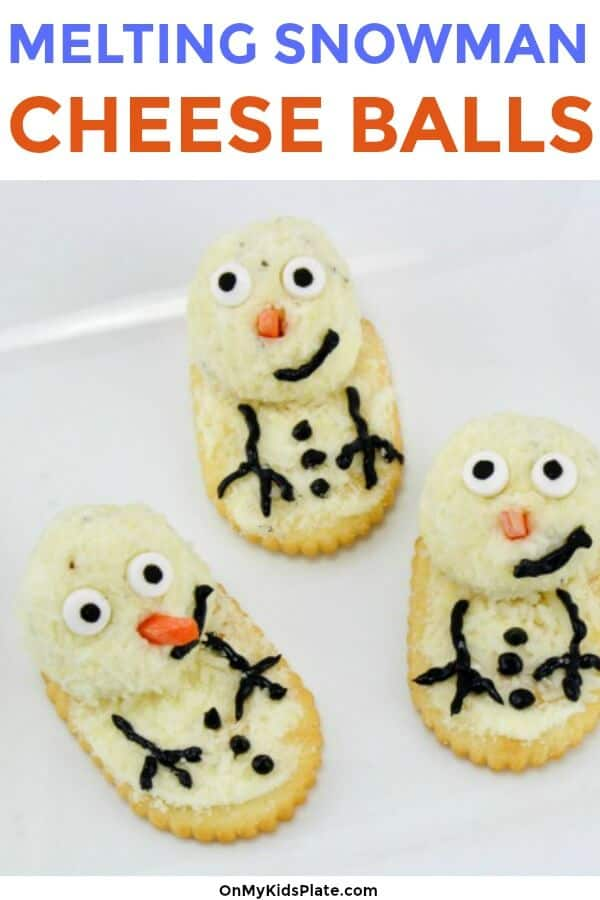 cheeseball snowmen crackers with text title overlay
