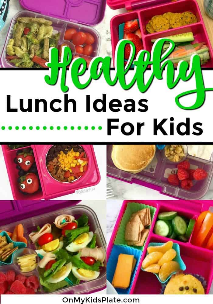 A collage of kid\'s bento lunchboxes with text title overlay