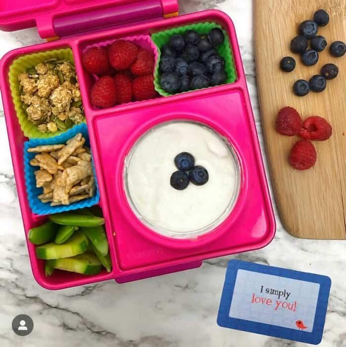 A kid\'s bento lunchbox full of yogurt, raspberries, blueberries, cucumbers, granola and bunny crackers