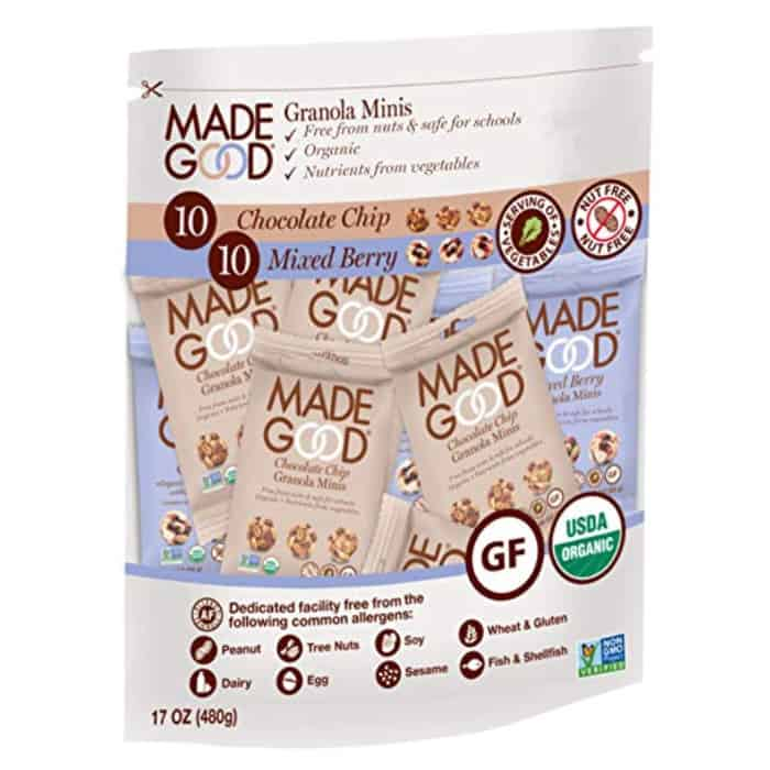 A bag of Made Good brand granola snack bites