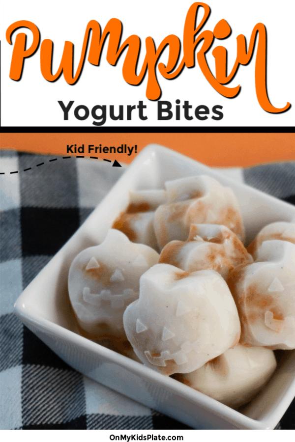 Pumpkin yogurt frozen bites shaped like pumpkins with text title overlay