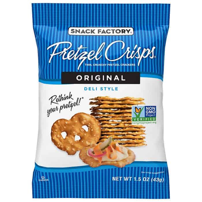 A bag of Snack Factory pretzels
