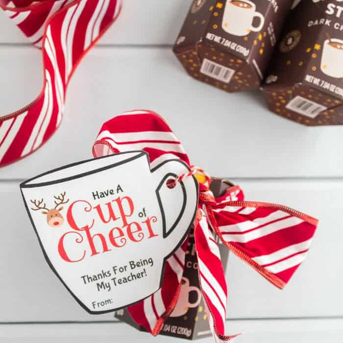 A hot chocolate gift dressed up with a ribbon bow and a Christmas mug shaped gift tag