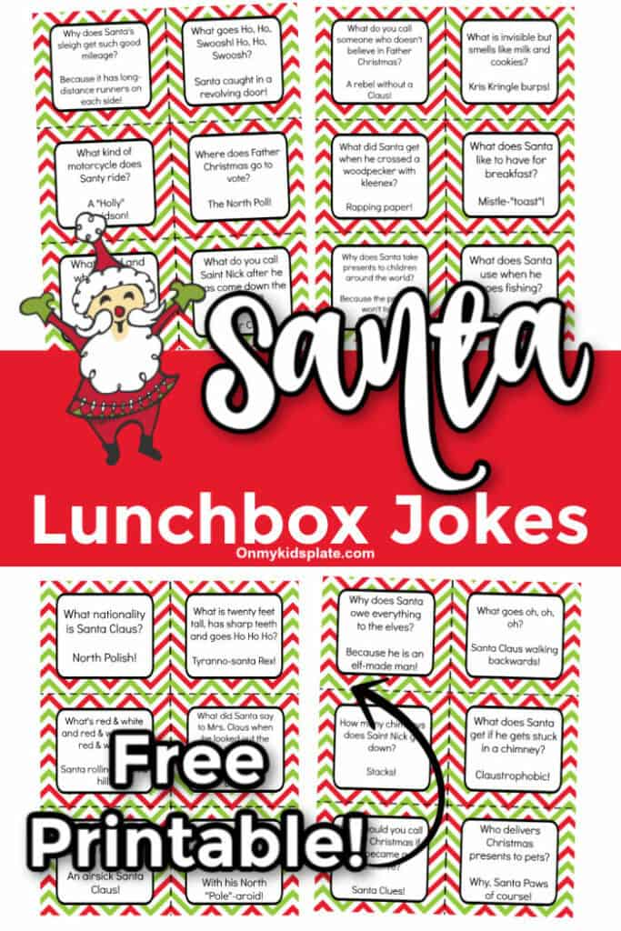 Sample printable christmas jokes for lunchboxes with text title overlay