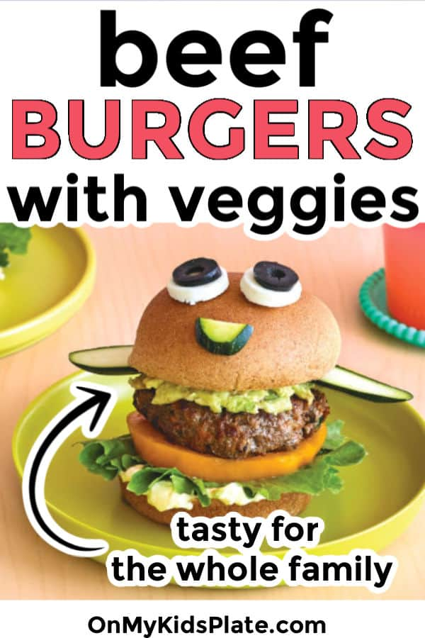 A beef burger made to look like a funny face on a plate with text title overlay