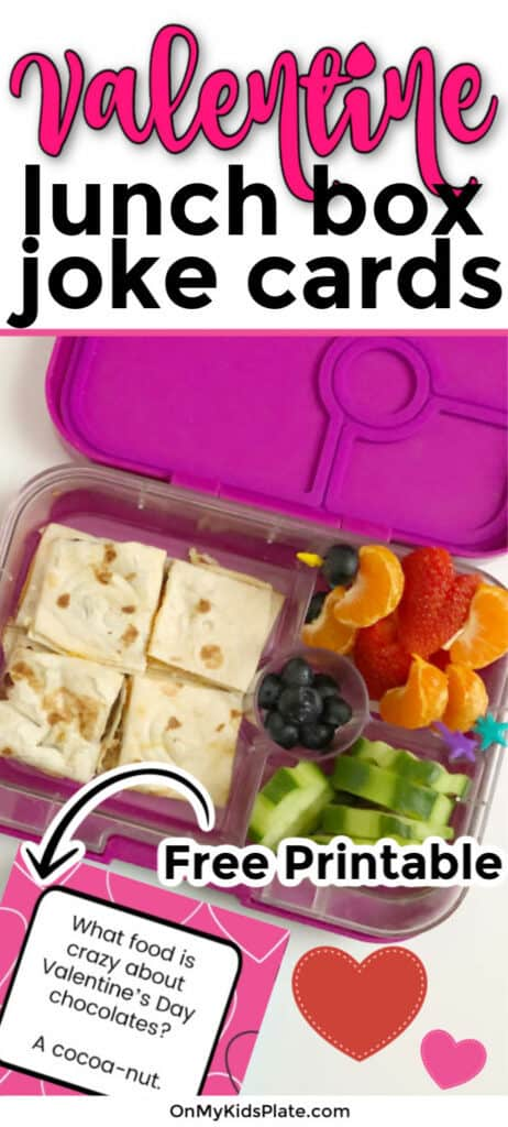 A kid\'s bento lunchbox full of quesadilla, cucumbers, blueberries, oranges and strawberries shaped like hearts with text title overlay