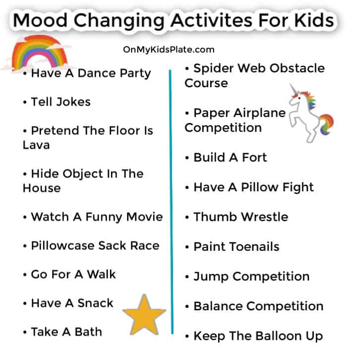 A list of activities for kids with a rainbow, unicorn and star emblishment