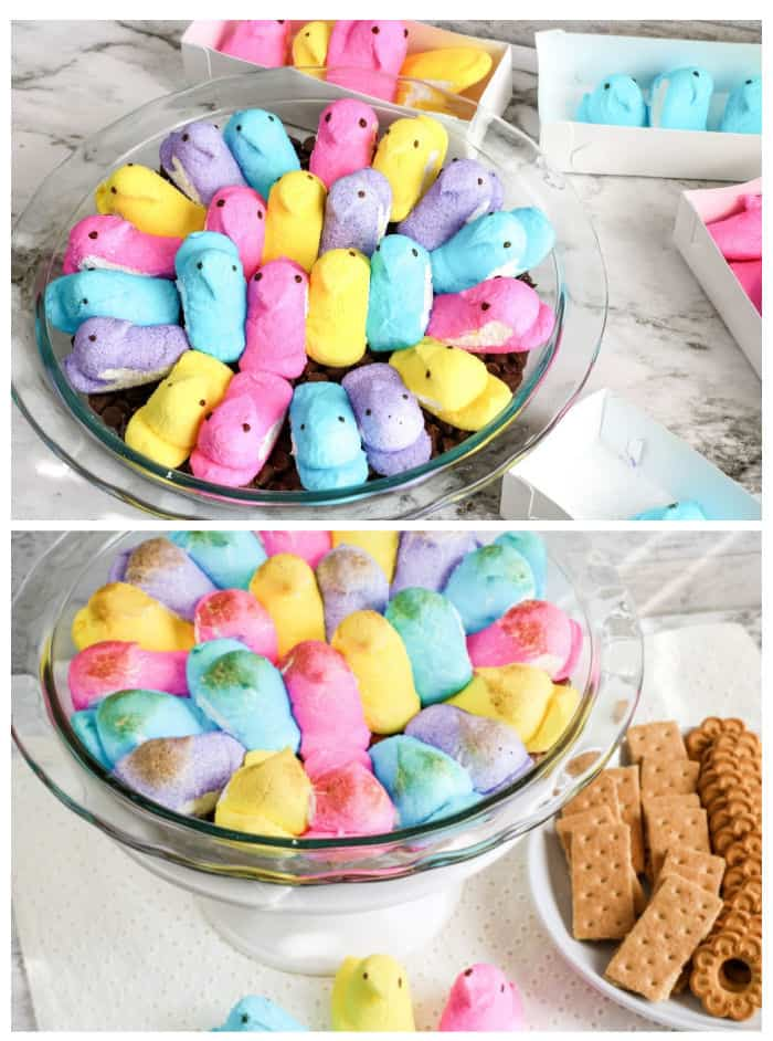Peeps marshmallows in a glass dish topping chocolate, with a second image of the marshmallows melted and brown