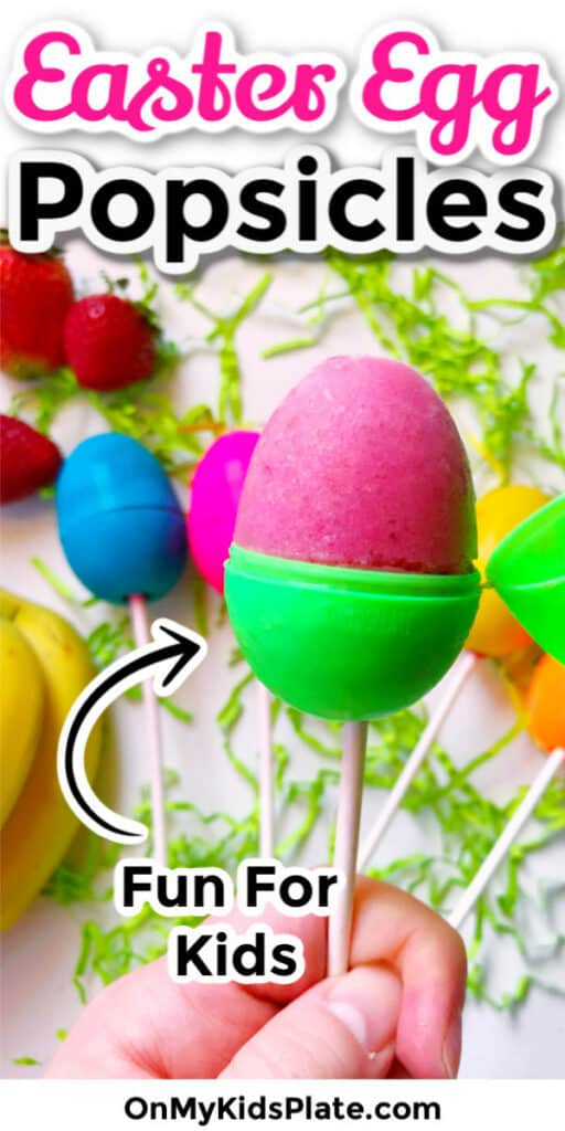 Close up of an open easter egg on a stick open and full of popsicle with text title overlay