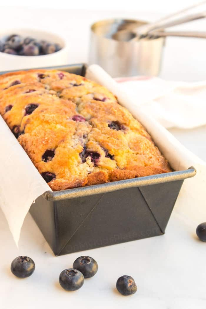 Blueberry bread in a pan after baking