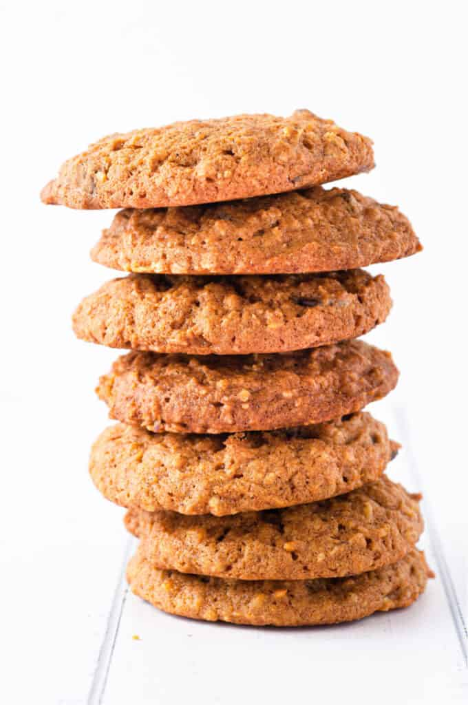 Tall stack of pumpkin oatmeal cookies from the side