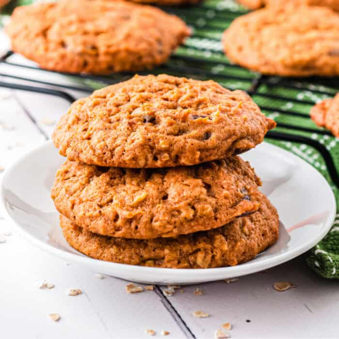 Stacked pumpkin oatmeal cookies on a plate