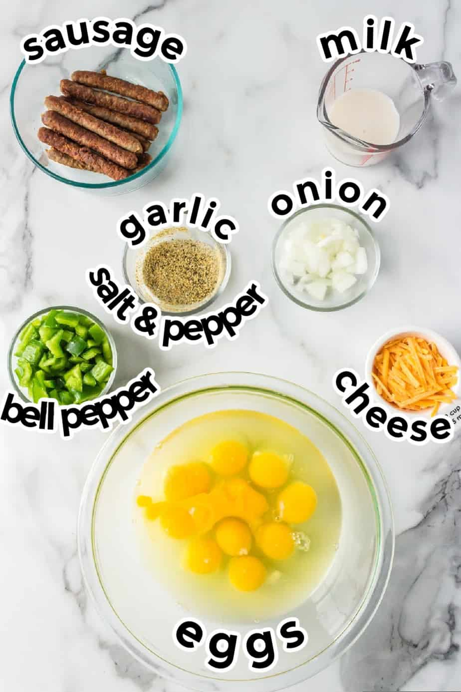 Ingredients for egg muffins from overhead with titles