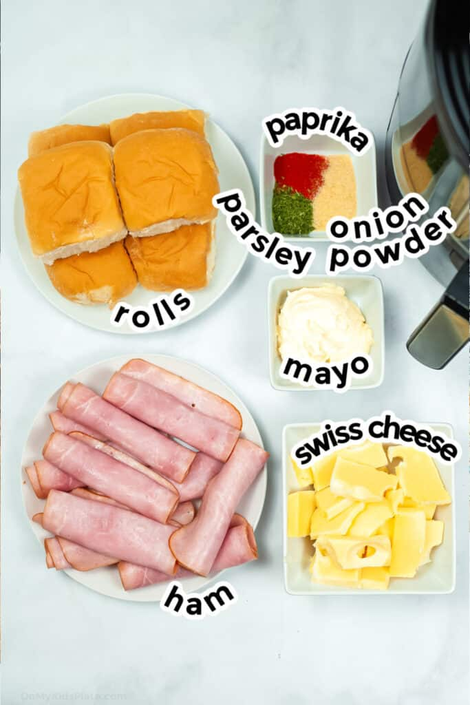 Ingredients for ham and cheese sliders