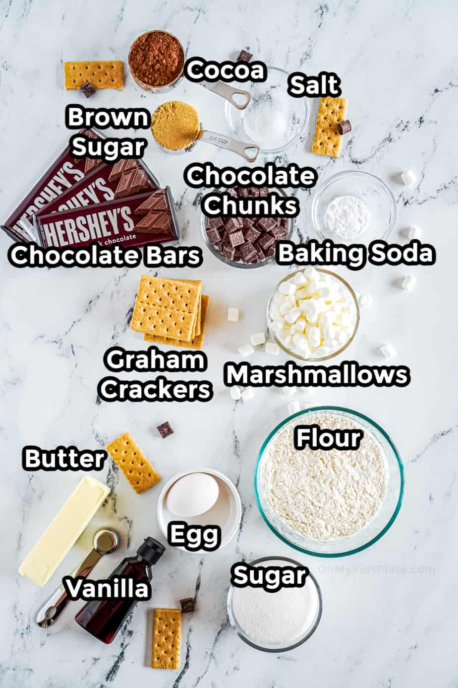 Ingredients For Chocolate Marshmallow Smores Cookies