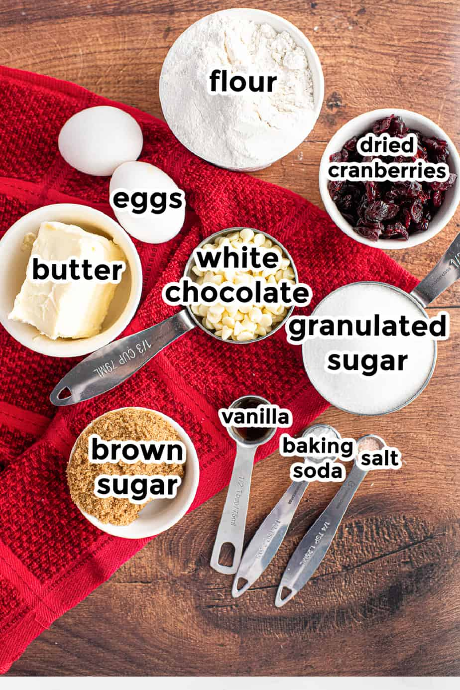 Ingredients for white chocolate chip cranberry cookies