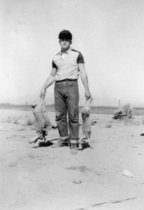 Sergio with rabbits.
