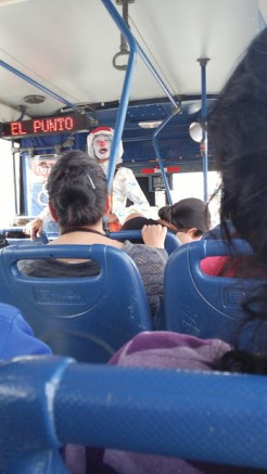 Clown on the bus.