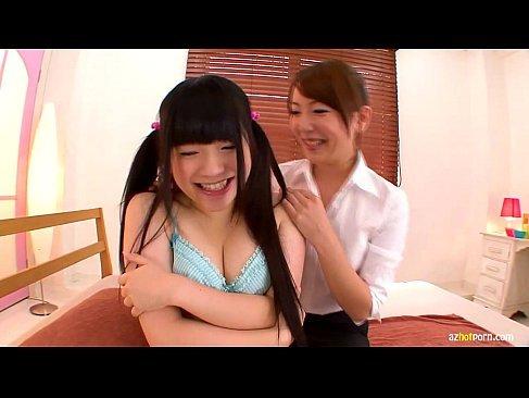 ツインテールのむっちり系美少女が美人お姉さんにレズプレイをしてるおまんこな女性用無料動画