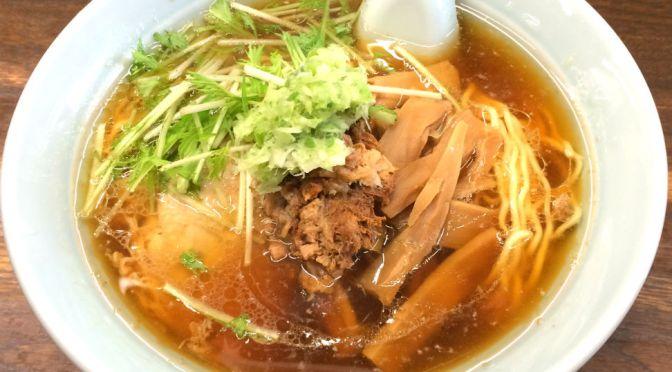 国領「熊王」限りなく澄んだスープ、それを心地よく汚す焼豚の切り落とし、香ばしいアクセントだね。旨いよ~。