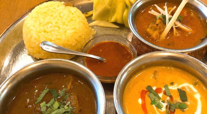 大塚「やっぱりインディア」インド南北カレーの融合、日替わり4種類が楽しめる。