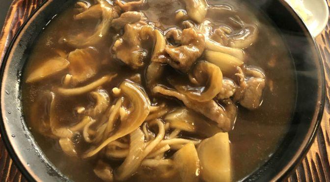 本郷三丁目「角萬」名物は冷しきつねなんだけど、初めて肉カレーを食す。