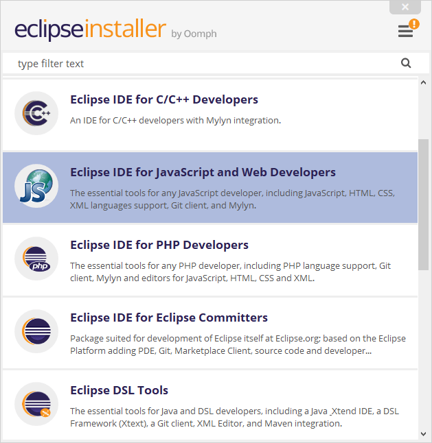 Eclipse IDE for JavaScript and Web Developersを選択