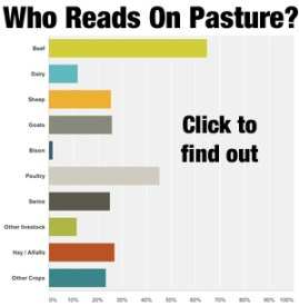 If you're thinking of Underwriting or Advertising you might be interested in who is reading On Pasture.  Click to see. :-)