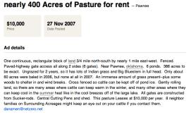 Pasture Lease Ad