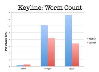 Worms per square foot, under keyline plowing and a neighboring paddock that was not plowed. There were more epigeic and endogeic worms in the plowed paddock, translating to about 522,720 more worms per acre.