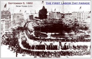 """At noon, the marchers from the first Labor Day parade arrived at Reservoir Park. Most continued on to the post-parade party that included speeches, a picnic, an abundance of cigars and, """"Lager beer kegs... mounted in every conceivable place."""""""