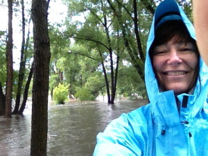 Here I am on 9/12/2013 having a great time in the rain when we thought the flood was going to be no big deal. Yep - it's all fun and games until the electricity goes out and your septic tank backs up!