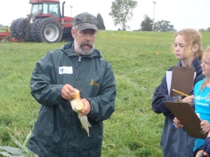 Bob Parsons in the field with the next generation of farmers and ranchers.  Photo Courtesy of University of Vermont